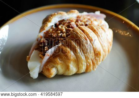 Croissant, French Croissant Or Cheese Croissant With Bacon Dust Topping Or Ham And Cheese Croissant