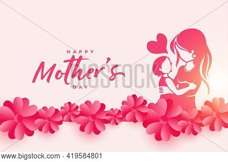 Happy Mothers Day Event Poster With Mother And Child