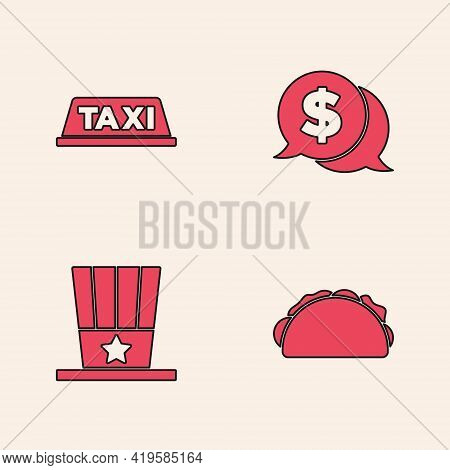 Set Taco With Tortilla, Taxi Car Roof, Coin Money Dollar And Patriotic American Top Hat Icon. Vector