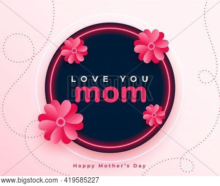 Happy Mothers Day Flower Background Vector Template Design
