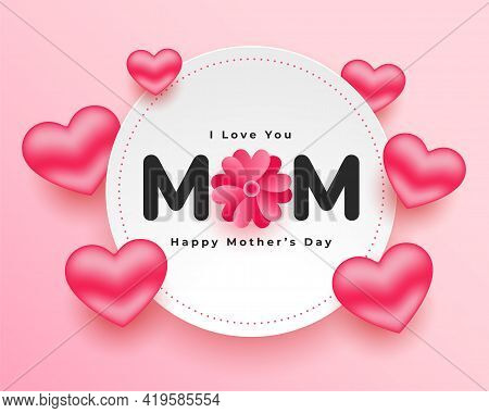 Mothers Day Realistic Hearts Card Vector Template Design