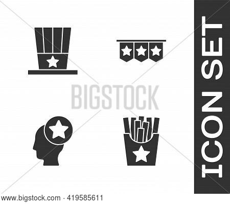 Set Potatoes French Fries In Box, Patriotic American Top Hat, Usa Head And Carnival Garland With Fla