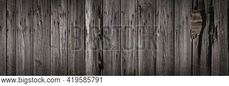 Vintage Wood Cladding Or Siding, Panoramic Background, Texture Or Banner