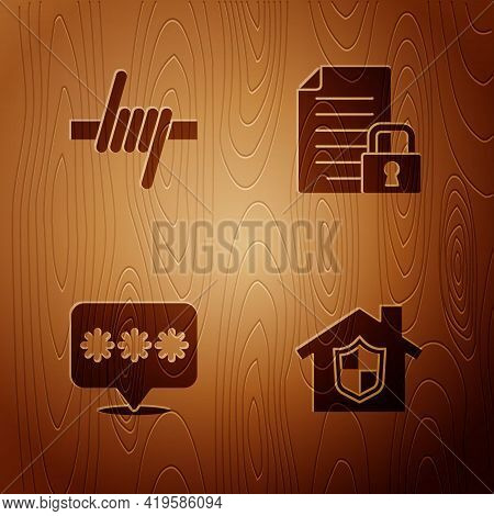 Set House Under Protection, Barbed Wire, Password And Document And Lock On Wooden Background. Vector
