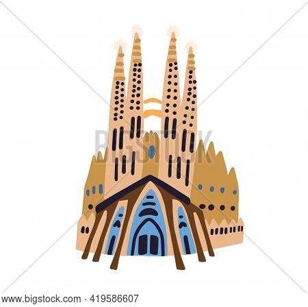 Barcelona, Spain - April 5, 2021: Basilica De La Sagrada Familia Exterior Isolated On White Backgrou
