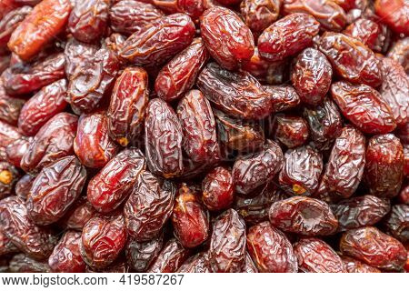 A Heap Of Delicious And Sweet Dried Dates (selective Focus)