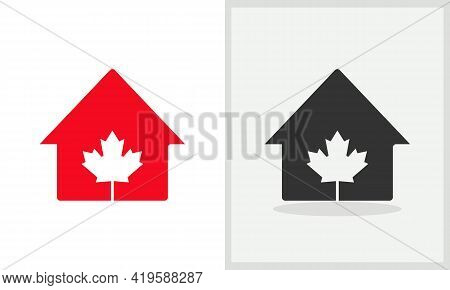 Maple House Logo Design. Home Logo With Maple Leaf Concept Vector. Maple Leaf And Home Logo Design