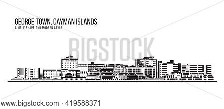 Cityscape Building Abstract Simple Shape And Modern Style Art Vector Design - Georgetown, Cayman Isl