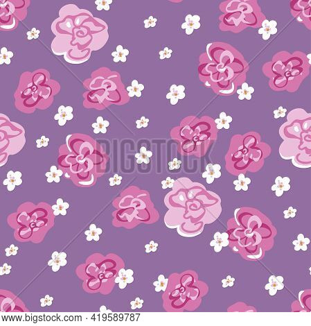 Vector Seamless Pattern With Decorative Roses And Little White Flowers. Blooming Flowers Pattern.