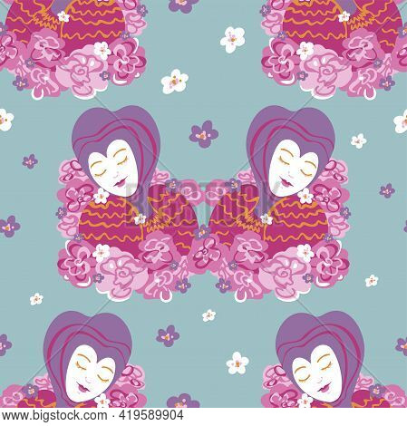 Vector Seamless Pattern With Beautiful Women. Decorative Pattern With Fancy Women And Flowers.