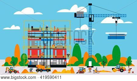 The Building Is Under Construction. The Process Of Work Of Builders At A Construction Site. Transpor