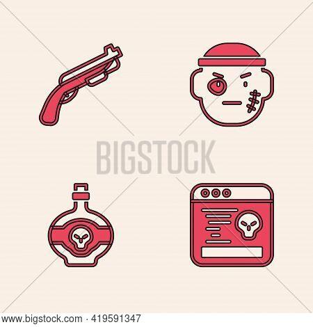 Set System Bug, Police Shotgun, Bandit And Poison In Bottle Icon. Vector