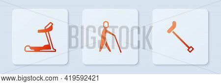 Set Blind Human Holding Stick, Treadmill Machine And Walking Cane. White Square Button. Vector