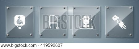 Set Prosthesis Hand, Deaf, Walker And Disabled Wheelchair. Square Glass Panels. Vector