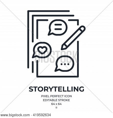 Storytelling Concept Editable Stroke Outline Icon Isolated On White Background Flat Vector Illustrat