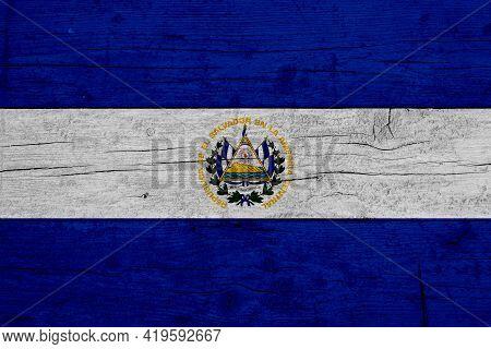 Flag Of El Salvador. Wooden Texture Of The Flag Of El Salvador.