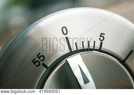0 Minutes - Macro Of An Analog Metal Timer On A Wooden Floor