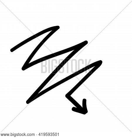Curve Curved Spiral Arrow Doodle Hand Drawn. Vector Illustration Element