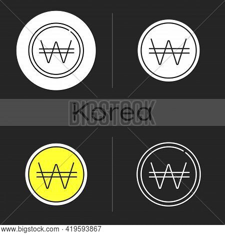 Korean Won Dark Theme Icon. Eastern Coin. Asian Currency. Finance And Economy. Pay Cost With Cash. K