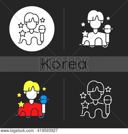 K Pop Dark Theme Icon. Musician Performance. Popular Singer. Group Performer. Entertainment Industry