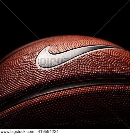 Nike Brand, Basketball Ball Nike Baller. Orange Rubber Outdoor Ball, Ultra-durable Cover, Close-up O
