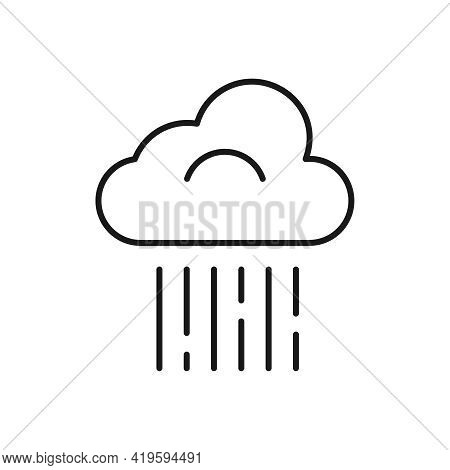 The Line Icon Of A Downpour With Vertical Rain And A Cloud Is Isolated On A White Background. Weathe