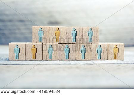 Some People Of An Infection, Voting Or Survey Are Marked On Wooden Blocks On A Board