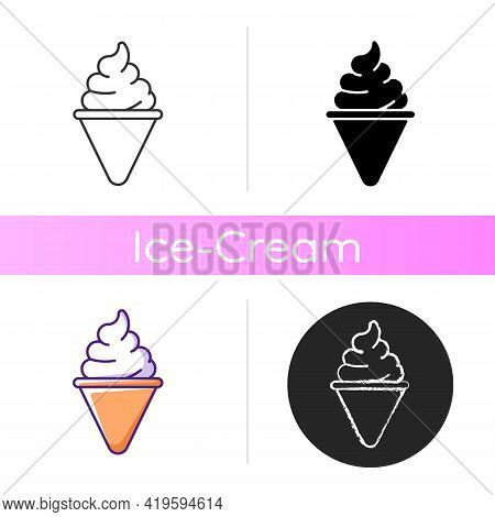 Ice Cream Cone Icon. Cone-shaped Frozen Pastry. Soft Serve. Frozen Ingredients. Mixture From Milk, S