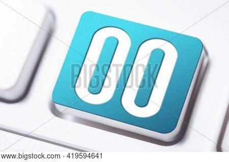 Number 00 Written On A Blue Keyboard Button