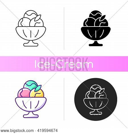 Sorbet Icon. Sherbet Ice Cream. Fruit-forward Frozen Treat. Made From Fruit, Ice. Sweetened Water An