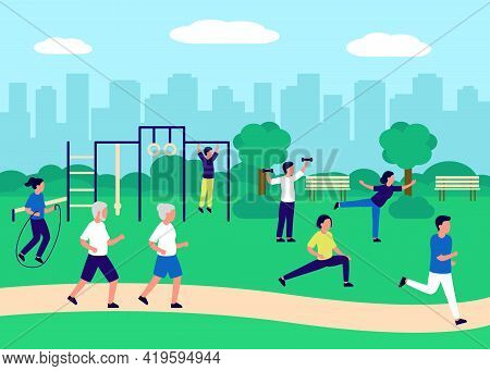 People Gathering In City Urban Park And Going Sport In Nature Together, Active Exercise. Urban Lands