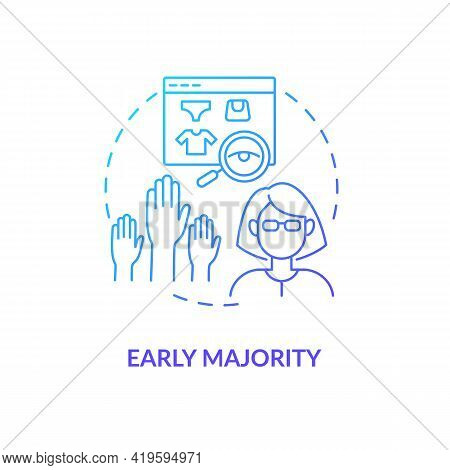 Early Majority Concept Icon. Product Adopters Category Idea Thin Line Illustration. Average Social S