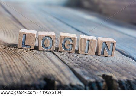 Login Written On Wooden Blocks On A Floor