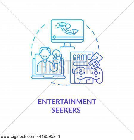 Entertainment Seekers Concept Icon. Internet Consumer Behavior Idea Thin Line Illustration. Looking