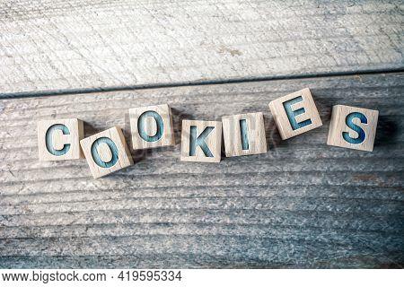 Cookies Written On Wooden Blocks On A Board