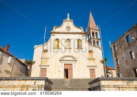 Historic Church In Milna On Brac Island, Dalmatia, Croatia