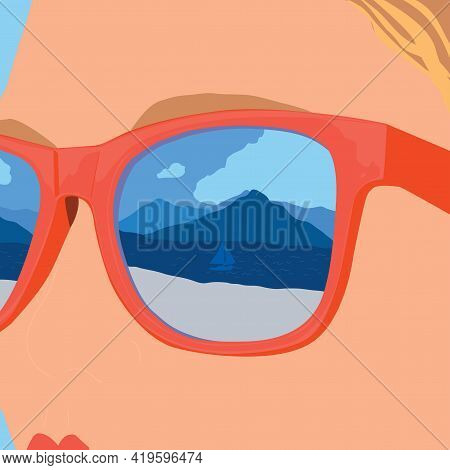 Young Women In Sunglasses Taking Sunbathe. Beach Vacation On Coast. Seaside And Boat. Vector Flat Ca