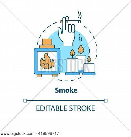 Smoke Concept Icon. Indoor Air Pollution Idea Thin Line Illustration. Cigarette, Tobacco Smoking. Wi