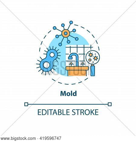 Mold Concept Icon. Indoor Air Pollution Idea Thin Line Illustration. Molds Growth In Building. Dampn