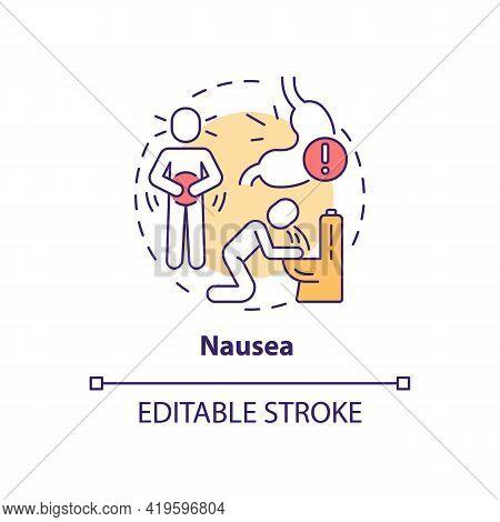 Nausea Concept Icon. Air Pollution Disease Symptom Idea Thin Line Illustration. Vomiting. Health Imp