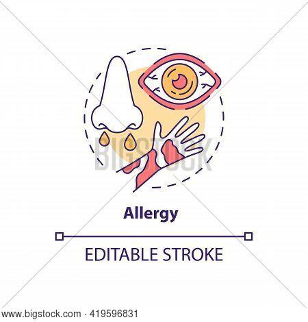 Allergy Concept Icon. Air Pollution Disease Idea Thin Line Illustration. Allergic Rhinitis. Asthma.