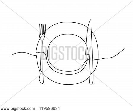 Continuous Line Drawing Of Plate, Knife And Fork. Minimalist Vector Illustration For Restaurant Menu