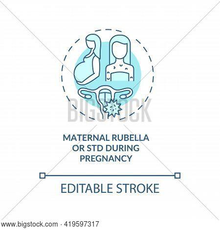 Maternal Rubella And Std During Pregnancy Concept Icon. Congenital Hearing Loss Idea Thin Line Illus