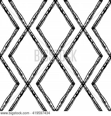 Diamond Shape Doodle Grid Seamless Vector Pattern Background. Modern Hand Drawn Irregular Lines Grun