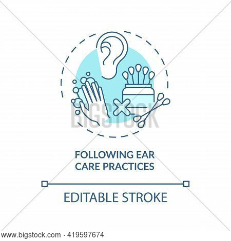 Following Ear Care Practices Concept Icon. Hearing Loss Prevention Idea Thin Line Illustration. Soft