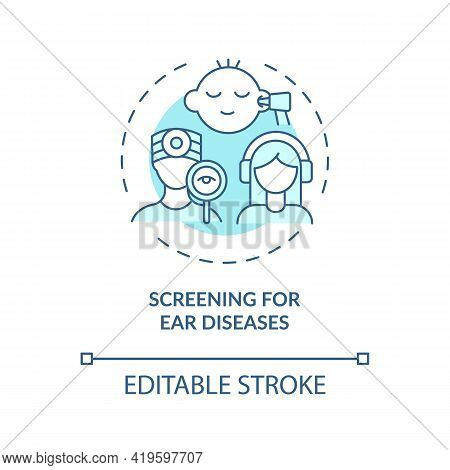 Screening For Ear Diseases Concept Icon. Hearing Loss Prevention Idea Thin Line Illustration. Testin
