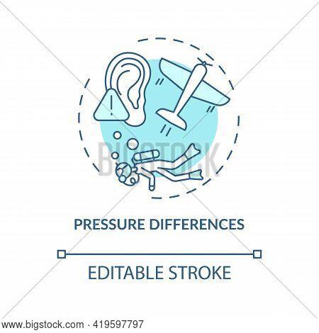 Pressure Differences Concept Icon. Top Ear Condition Idea Thin Line Illustration. Eardrum Distortion