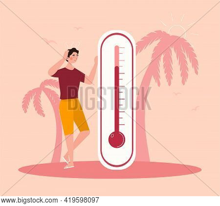 Meteorology Thermometer. Heat Weather Vector Illustration. Cartoon Characters In Summer And Winter S