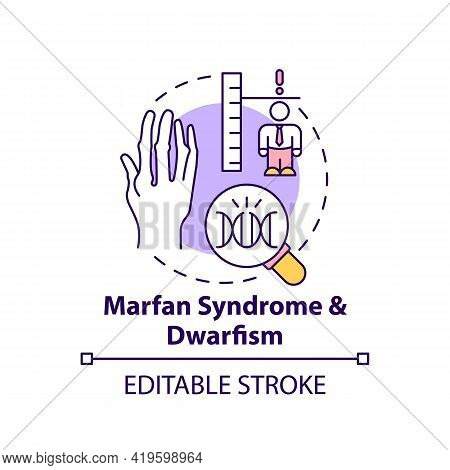 Marfan Syndrome And Dwarfism Concept Icon. Chromosome Mutation. Health Care. Genetic Disorder Idea T
