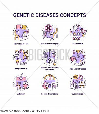 Genetic Disease Concept Icons Set. Marfan Syndrome, Dwarfism. Tay Sach Disease. Hereditary Illness I